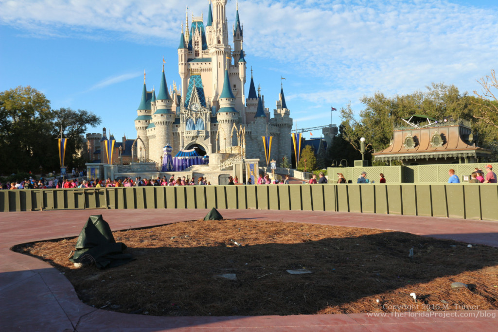Behind the low walls in the hub, facing Cinderella Castle.