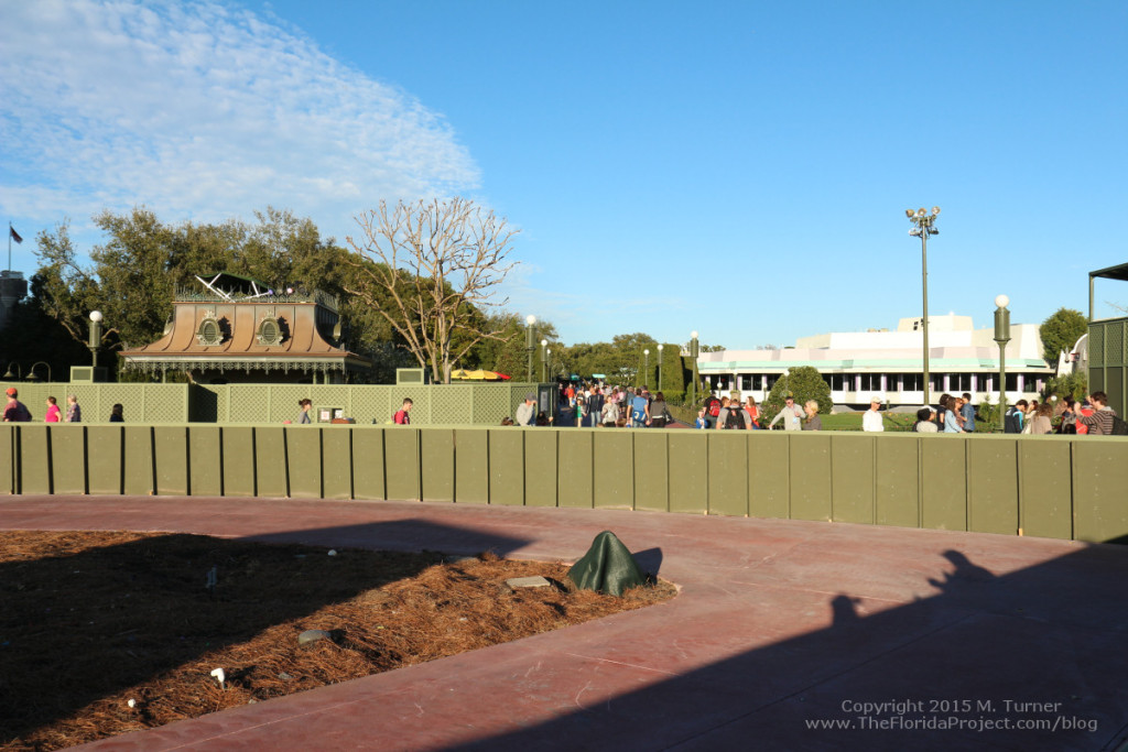 Facing Cinderella Castle looking right towards Tomorrowland over the low Hub wall.