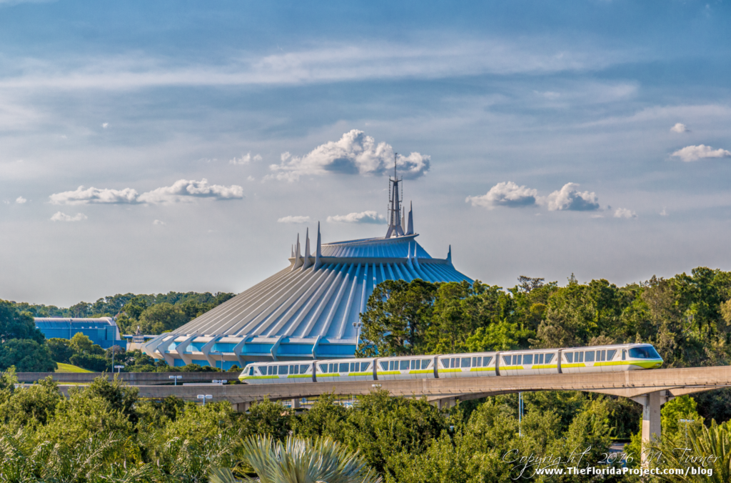 Monorail Lime passes in front of Space Mountain on it's way to Magic Kingdom, Walt DIsney World. Photo copyright 2016 M. Turner www.TheFloridaProject.com/blog